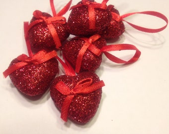 6 glitter mini heart ornaments, 30 mm (A1)