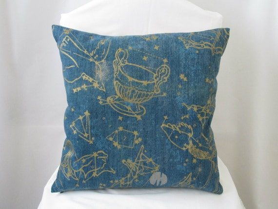 Blue and gold constellation decorative pillow for Blue and gold pillows