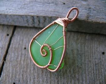 Sea glass pendant, mermaid tear, green genuine sea glass, sea glass jewelry, wire wrapped pendant, Birthday gift beach pendant, copper wire
