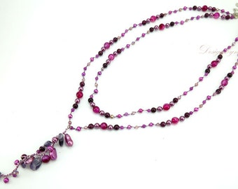 Purple freshwater pearl and amethyst,crystal on silk thread necklace.