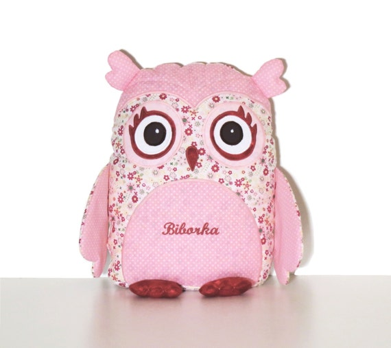 Owl pillow, organic baby owl and personalized baby shower gift, pillowcase and pillow