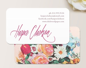 Signature Script Floral Business Card / Calling Card / Mommy Card / Contact Card - Calling Cards, Business Cards, Modern Business Cards