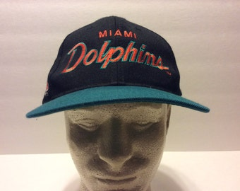 Vintage Miami Dolphins Black Snapback Hat One Size Sports Specialties Men's