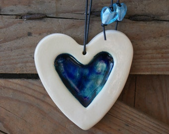 Crystal Inlaid ceramic heart - blues