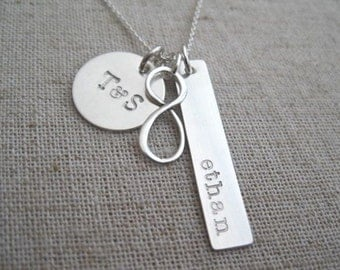 Family Infinity Necklace - Personalized Hand Stamped Necklace - Mother's Necklace