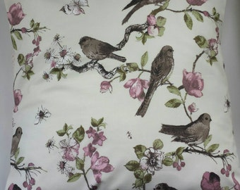 Shabby Chic Cushion Cover in Birds Butterfly and Roses 16""
