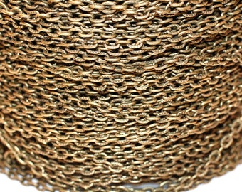 15ft Antiqued brass Chain-Finished brass Chain- Cable Chain-unsoldered-3x4mm