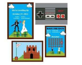 4 item Complete Nintendo Wedding Set: Custom Digital files