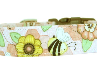 Yellow Bee and Flower Dog Collar/ Pastel Dog Collar: Let it Bee