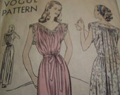 Vintage 1940's Vogue 5720 Gown Sewing Pattern, Size Medium, Bust 32 - 34