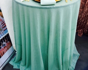 "Mint Tablecloths, Mint Sequin, 1 DAY SHIP, 25% OFF, Mint Overlays, 90"" Round, 90"" X 156"", 90""X132"", 120"" Round"