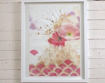 Scallop Poppies-- Original art in frame