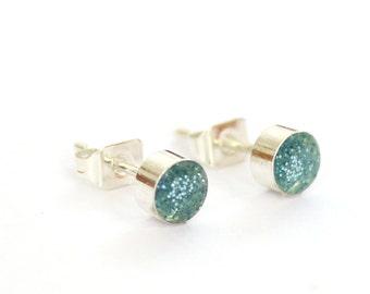 Glitter blue earring, Tiny earring studs,  5mm stud earrings surgical steel
