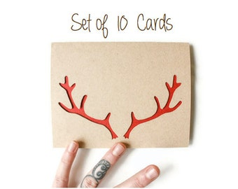 Christmas Card Set of 10: Reindeer Antlers--Christmas Cards--Laser cut card set