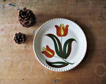 Blue Ridge Pottery, Southern Potteries, Vintage China, Vintage Dinner Plates, Pottery Plates, Tulip Plate, Floral Plate, Vintage Pottery