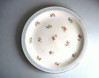 Crooksville China Company, Antique Cake Plate, Large Round Platter, Old Platter, Serving Platter, Vintage Platter, Blue Floral Cake Plate