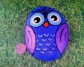 Painted Owl Stone, hand painted rock, garden, paperweight, purple, painted stone