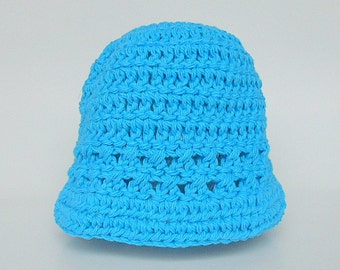 Newborn  Aqua Hat Infant  Boy  Spring Cotton Turquoise Cap 0 To 3  Months Baby Girl  Summer  Beanie Ready To Ship