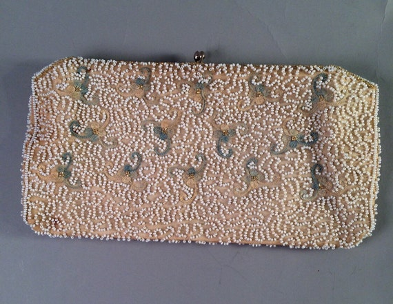 Vintage bloomingdales beaded embroidered clutch made in