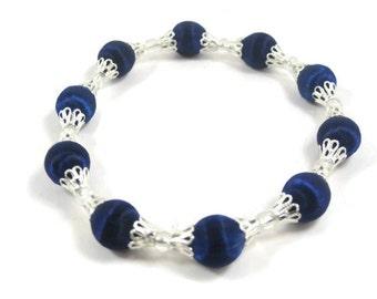 Blue Beaded Bracelet, Stretch Satin Bead Bracelet, One Size Fits Most