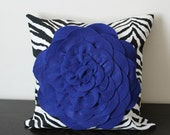 Decorative Throw Pillow Cover, Deep Blue Chrysanthemum Pillow Cover, Accent Pillow, Sofa Pillow, 14x14,16x16, Bedroom Pillow, Toss Pillow