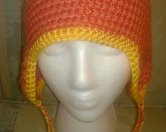 Orange ear flap hat