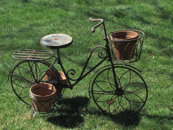 Large French Cottage Chic Metal Bicycle Plant Stand Vintage Bicycle Planter  Stand
