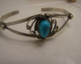 Hand Made Sleeping Beauty Turquoise Sterling Silver Bracelet 1060.