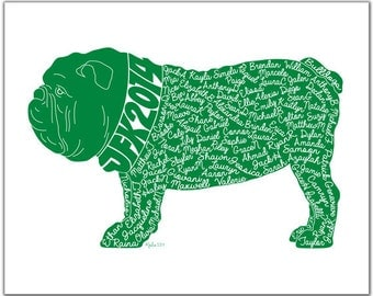 Bulldog (or any Mascot) Personalized Custom Yearbook Cover Silhouette