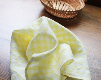 Pure Linen Napkin Set of 6 SHIPPING WORLDWIDE  handmade Squares Checkered Lunchbox napkins Gingham Table linen Yellow R110