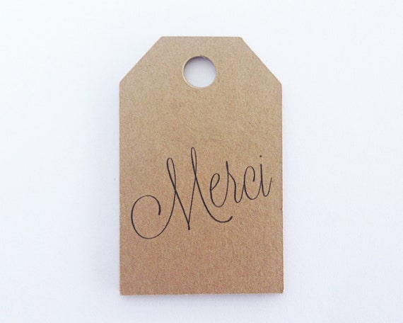 Merci Thank You Favor Tags -  Kraft Hang Tags. Gift Tags. Thank You Tags. Wedding Favor Tags. Bachelorette Party Tags. Bridal Shower Tags.