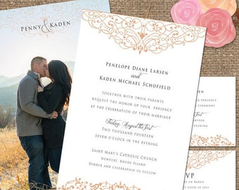 Peach & White Wedding Invitation + Photo Back / 'The Penelope' Wedding suite / Decorative Type-Printable DIY or We Print for You #Penelope