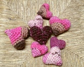 Puffy Hearts - Pink, berry, brown variegated bowl filler decorations set of 8