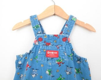 Vintage Oshkosh Overall Dungarees Footed in Corduroy 6 to 9 Months