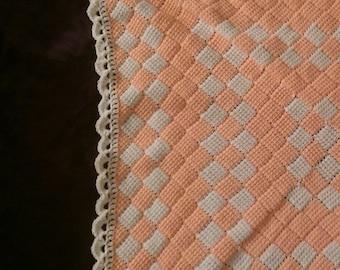 Orange Sherbert Entrelac Crochet Baby Blanket