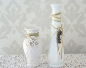 Shabby Chic Milk Glass Vases, Burlap, Charms, Wedding Centerpieces, White Vases