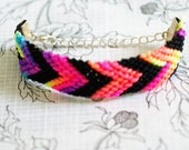 Neon and Black Chevron Bracelet, Friendship Bracelet, Neon and Gold