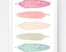 Feather Print, Mint and Coral, Feather Art, Mint Art, Coral Art,