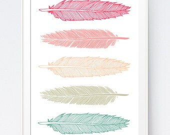 Feather Wall Art feather art | etsy