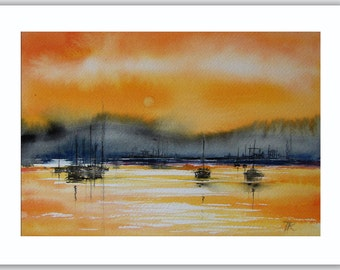 Art Original Watercolor painting Sunset - by Tatjana Ruzin landscape painting orange black gray - abstract painting harbor boats, Dad Gift