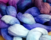 Purple Posse - Hand painted corriedale roving dyed top for spinning and felt supply - corriedale wool - pale blue, plum, lavender,  fuchsia