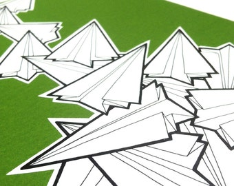 original drawing - 'muddle' - paper planes artwork - hand drawn illustration - black and white paper airplanes on emerald green, kelly green