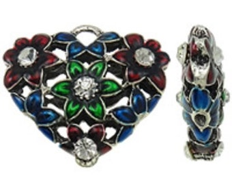 1pc zinc alloy hollow heat shape enamel with rhinestones -B23