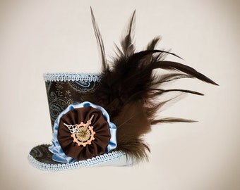 Brown and Blue Mini Top Hat,Burlesque hat, Steampunk,  Bachelorette party hat, Cosplay, Mad Hatter, Alice in Wonderland, hair accesories