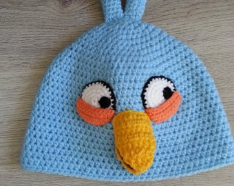 FREE SHIPPING Blue Angry Bird Crochet Child Hat
