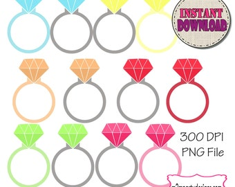 Diamond Ring Engagement Silhouette Diamond Cute Clip Art, Digital Clipart PU / CU- Digital Clip- Personal Commercial Use SET of 12