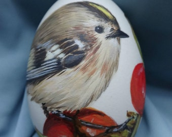 Handpainted Easter egg with little Goldcrest sitting on rose hip - goose egg