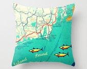 Rhode Island  Map Pillow Cover Vintage Map Decorative Throw Pillow Cover Custom Rhode Island State Map Decor Map Art Gifts