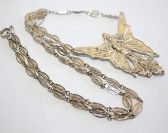 Vintage Fairy Pendant Necklace Runway Statement Filigree Link 1980s Jewelry