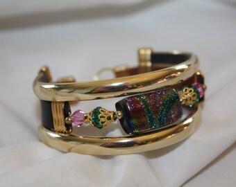 Vintage Cuff Bracelet Bangle Leather Art Glass 1980s Jewelry
